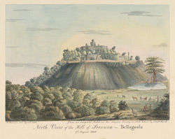 N. view of the hill of Sravana Belgola (Mysore), with statue of Gommatesvara. 17 August 1806. Copied by Newman in 1816 from an original sketch by Benjamin Swain Ward taken in 1806